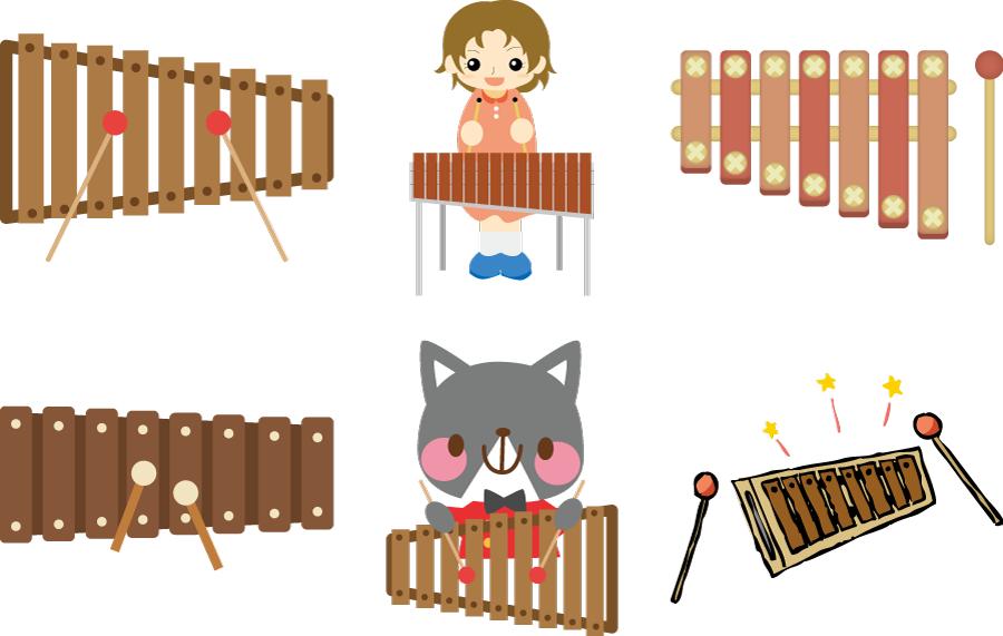 フリーイラスト 6種類の木琴と演奏者のセット