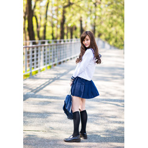 フリー写真, 人物, 少女, アジアの少女, 中国人, 女性(00160), 学生(生徒), 学生服, 高校生, セーラー服(学生服), 通学鞄