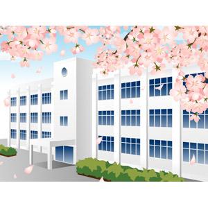 フリーイラスト, ベクター画像, AI, 風景, 建造物, 建築物, 学校, 校舎, 春, 花, 桜(サクラ), ピンク色の花, 入学式, 卒業式, 3月, 4月