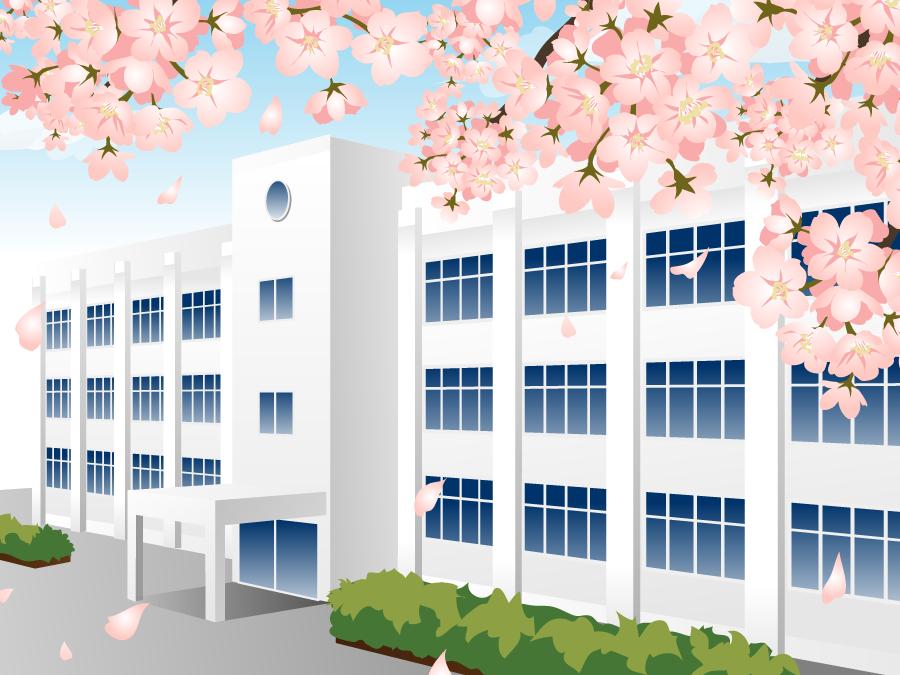 フリーイラスト 桜の花と学校の校舎