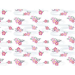 フリーイラスト, ベクター画像, AI, 背景, 和柄, 花柄, 桜(サクラ), 波紋, 春