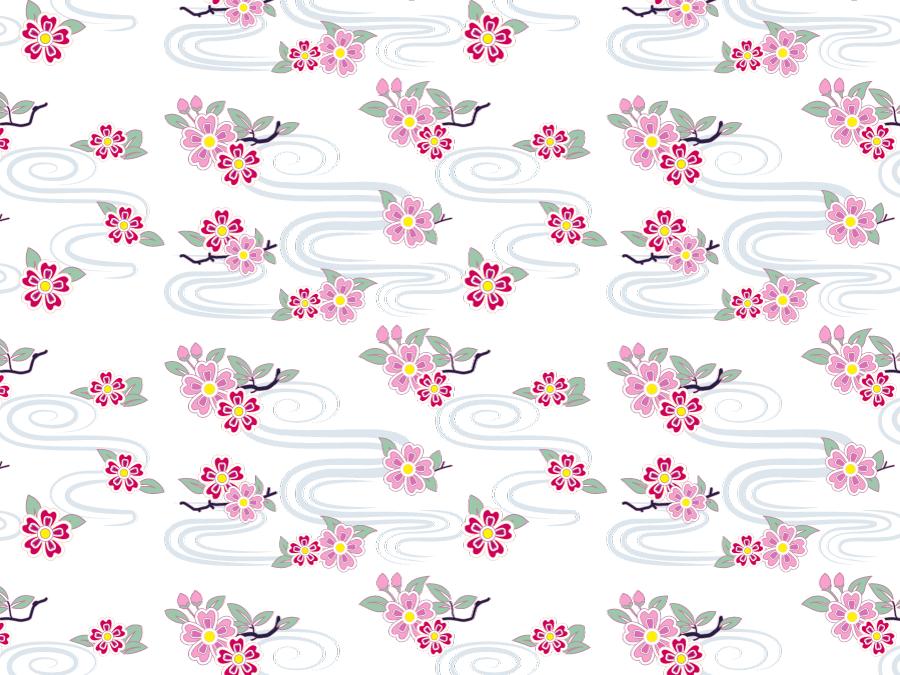 フリーイラスト 桜の花と水の流れの和柄背景