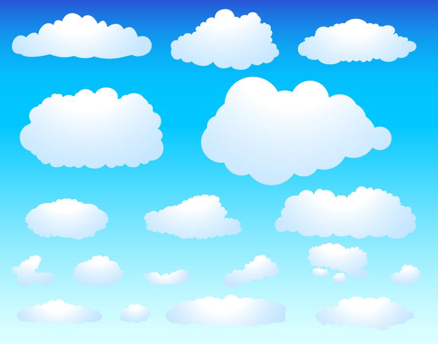 フリーイラスト 18種類の雲のセット