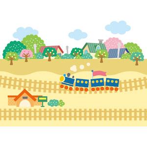 フリーイラスト, ベクター画像, EPS, 風景, 乗り物, 列車(鉄道車両), 蒸気機関車, 線路(鉄道), 街並み