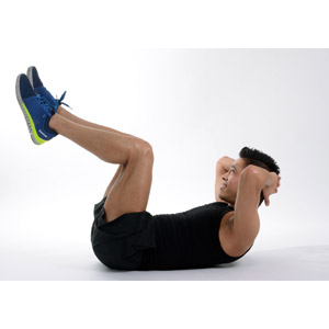 フリー写真, 人物, 男性, アジア人男性, 運動, フィジカルトレーニング, 筋トレ, 腹筋, 白背景