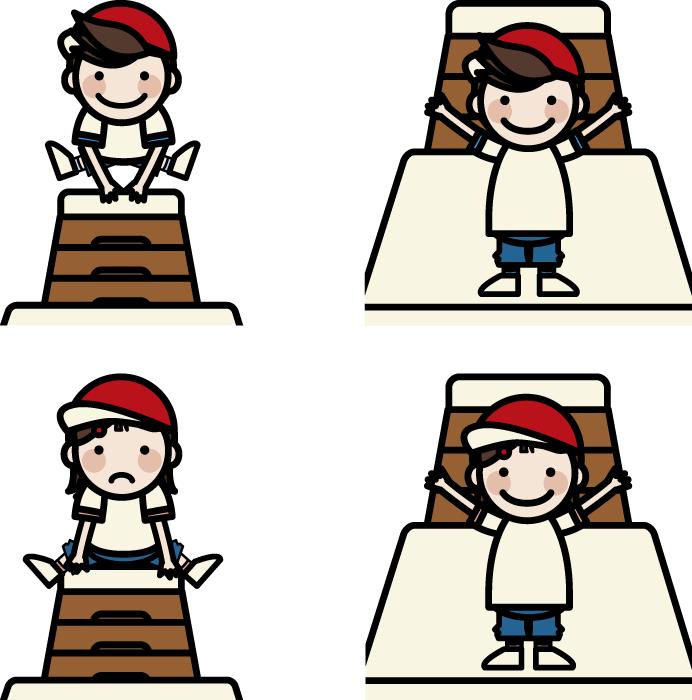 フリーイラスト 跳び箱を跳ぶ男の子と女の子のセット