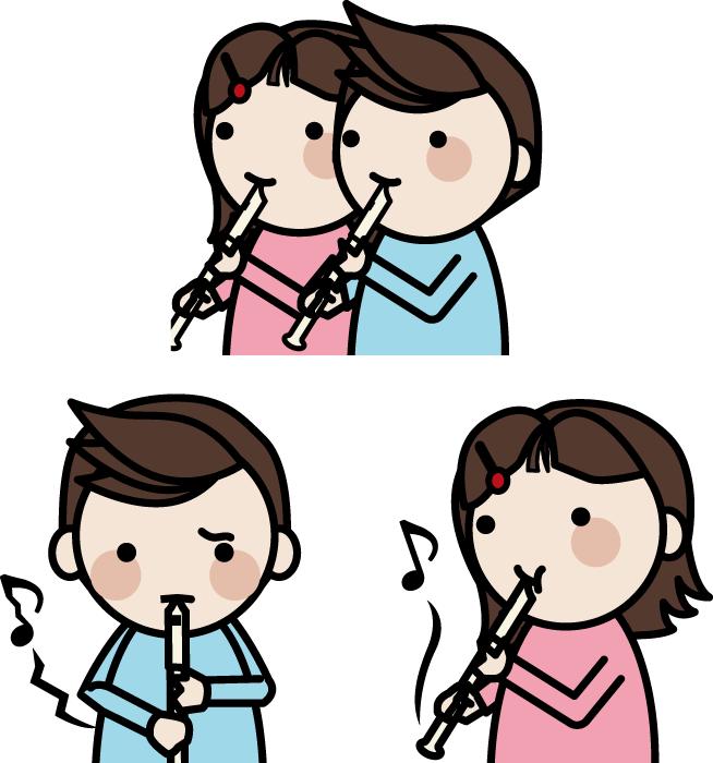 フリーイラスト リコーダーを吹く男の子と女の子のセット