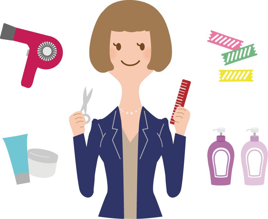フリーイラスト 美容師とヘアビューティ関連のセット