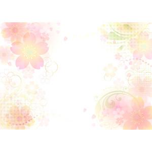 フリーイラスト, ベクター画像, AI, 背景, 花, 花柄, 桜(サクラ), 花びら, 春, ピンク色の花