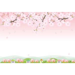 フリーイラスト, ベクター画像, AI, 風景, 田舎, 村, 花, 桜(サクラ), 花びら, 枝, ピンク色の花, 春, 桜吹雪