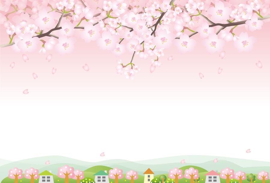 フリーイラスト 桜の花が咲く田舎の風景