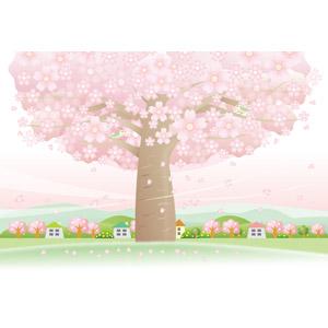 フリーイラスト, ベクター画像, AI, 風景, 田舎, 村, 樹木, 花, 桜(サクラ), 花びら, 桜吹雪, ピンク色の花, 春, 小鳥