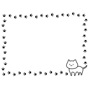 フリーイラスト, ベクター画像, AI, 背景, フレーム, 囲みフレーム, 動物, 哺乳類, 猫(ネコ), 白猫, 足跡(動物)