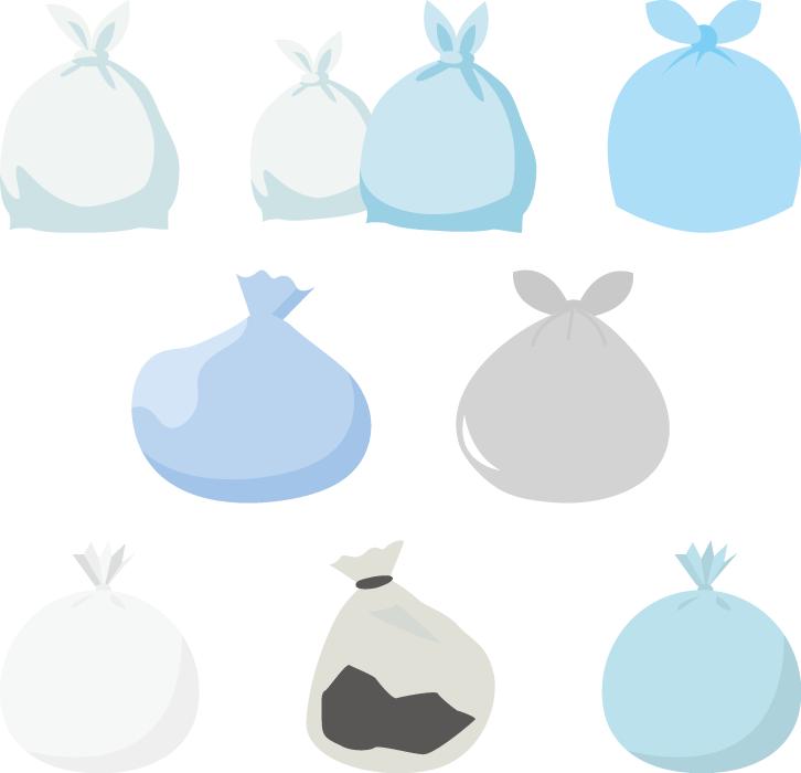 フリーイラスト 8種類のごみが入ったごみ袋