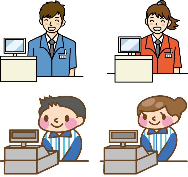 フリーイラスト 4種類のレジとコンビニの店員のセット