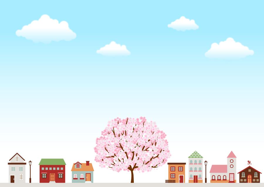フリーイラスト 満開のさくらの木と街並み