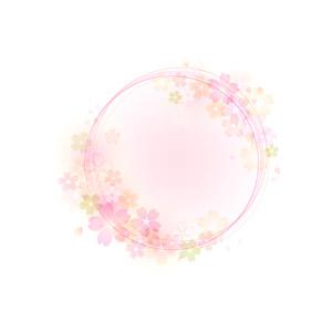 フリーイラスト, ベクター画像, AI, 背景, フレーム, 円形フレーム, 花柄, 桜(サクラ), 春