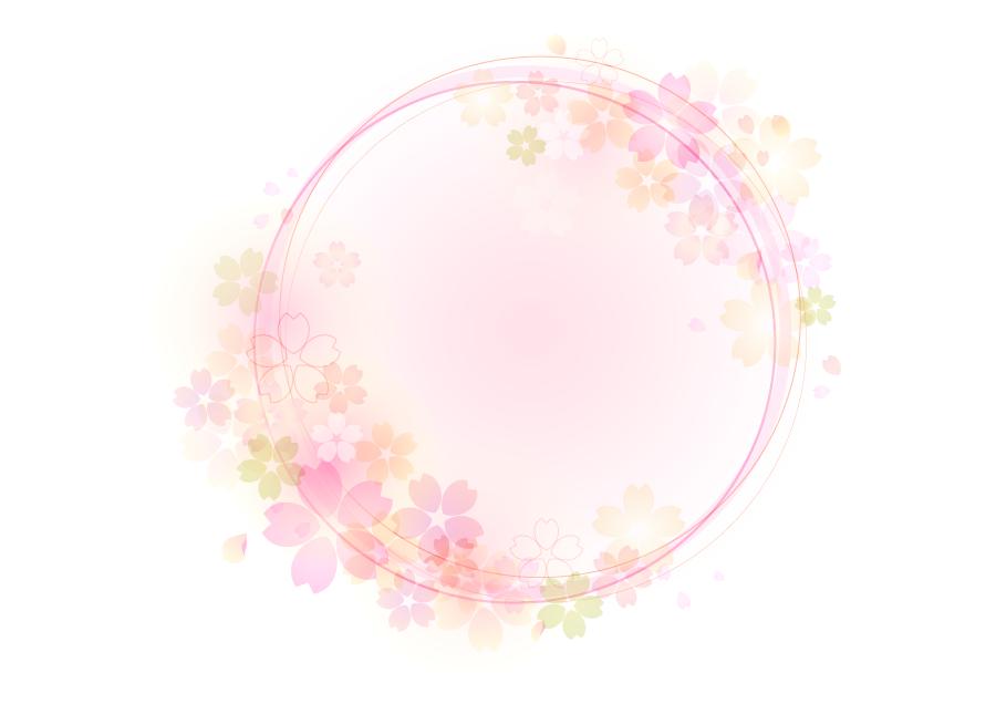 フリーイラスト 桜の花柄の円形の飾り枠