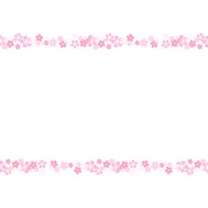 フリーイラスト, ベクター画像, AI, 背景, フレーム, 上下フレーム, 花, 花柄, ピンク色の花, 桜(サクラ), 春