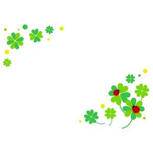 フリーイラスト, ベクター画像, AI, 背景, フレーム, 対角フレーム, 植物, 雑草, クローバー(シロツメクサ), 四つ葉のクローバー, てんとう虫(テントウムシ)