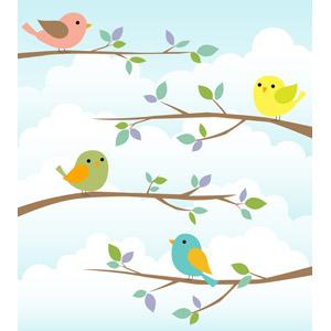 フリーイラスト, ベクター画像, AI, 背景, 動物, 鳥類, 鳥(トリ), 小鳥, 枝, 雲