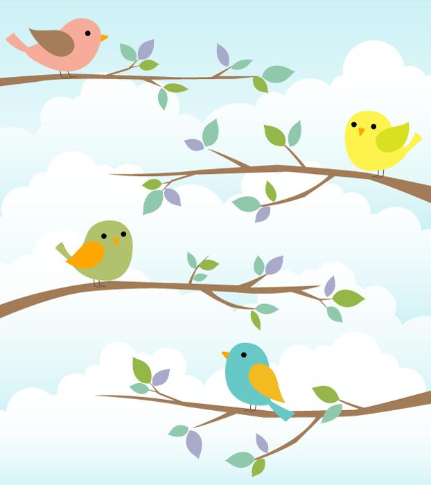 フリーイラスト 木の枝に止まる小鳥たちの背景