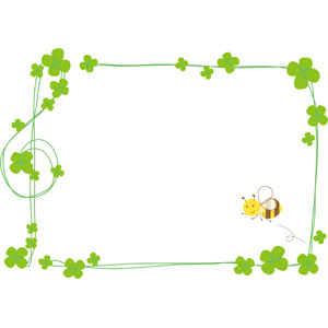フリーイラスト, ベクター画像, EPS, 背景, フレーム, 囲みフレーム, 植物, クローバー(シロツメクサ), 四つ葉のクローバー, 蜂(ハチ), 蜜蜂(ミツバチ), ト音記号