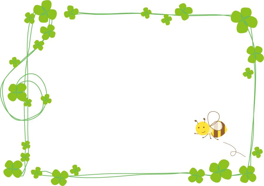 フリーイラスト 四つ葉のクローバーとミツバチのフレーム