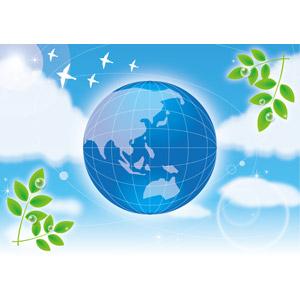 フリーイラスト, ベクター画像, EPS, 背景, 植物, 葉っぱ, 水滴(雫), 青空, エコロジー, 惑星, 地球