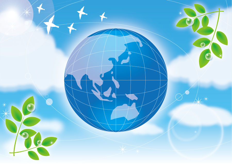 フリーイラスト 地球と植物と青空の背景