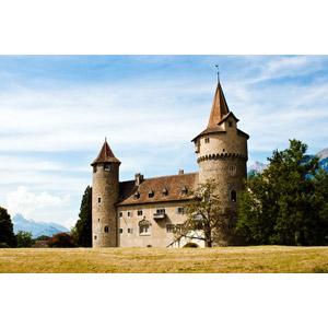 フリー写真, 風景, 建造物, 建築物, 城, スイスの風景