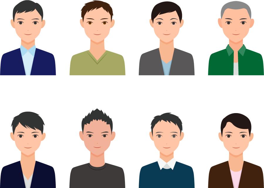 フリーイラスト 8人の若い男性のセット