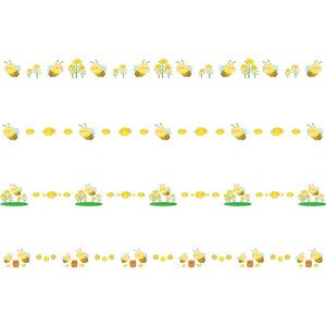 フリーイラスト, ベクター画像, AI, 飾り罫線(ライン), 動物, 昆虫, 蜂(ハチ), 蜜蜂(ミツバチ), 菜の花, 蜂蜜(ハチミツ)