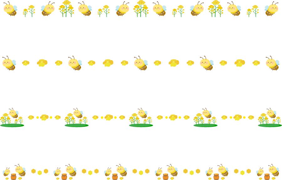 フリーイラスト 4種類のミツバチのライン