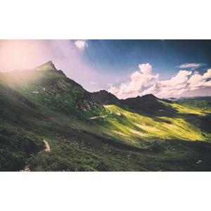 フリー写真, 風景, 自然, 山, 高原, 雲, 太陽光(日光)