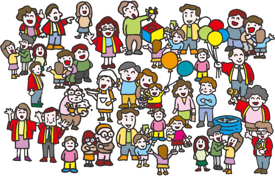 フリーイラスト イベント会場に集まる人々