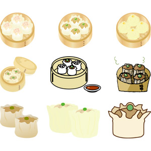 フリーイラスト, ベクター画像, AI, 食べ物(食料), 料理, 粉物料理, 焼売(シュウマイ), 中華料理, 肉料理