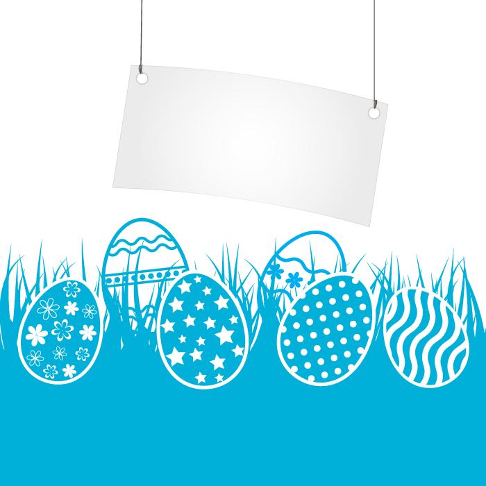 フリーイラスト 草の上の卵とタグのイースターの背景