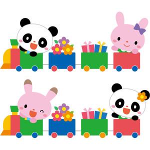 フリーイラスト, ベクター画像, EPS, 乗り物, 列車(鉄道車両), 汽車, 動物, 哺乳類, ジャイアントパンダ, 兎(ウサギ), プレゼント
