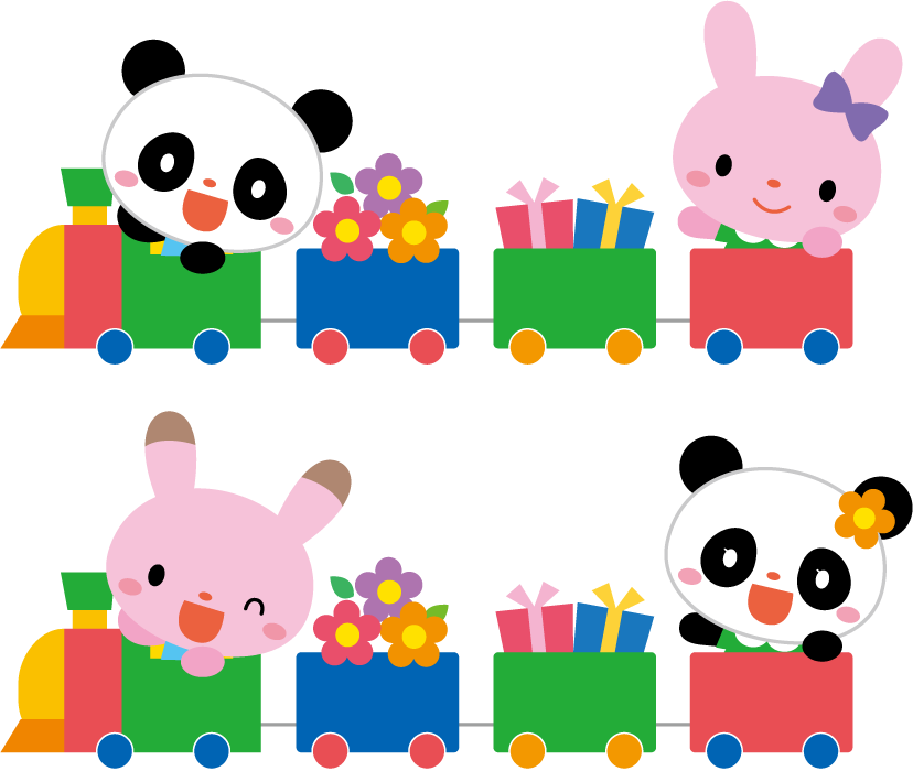 フリーイラスト 汽車に乗るパンダとウサギ