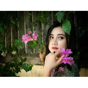 フリー写真, 人物, 女性, アジア人女性, ベトナム人, 人と花, ピンク色の花, 振り返る