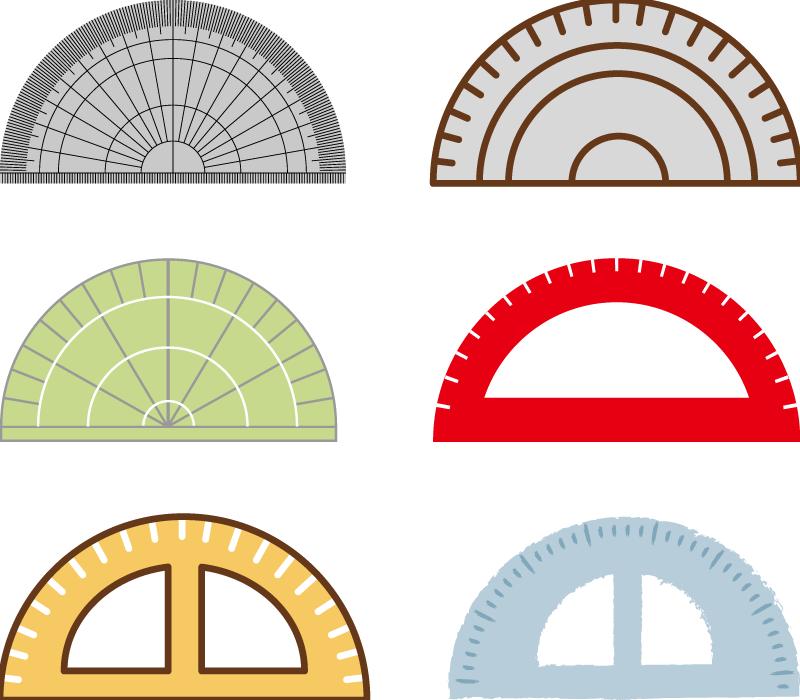 フリーイラスト 6種類の分度器のセット