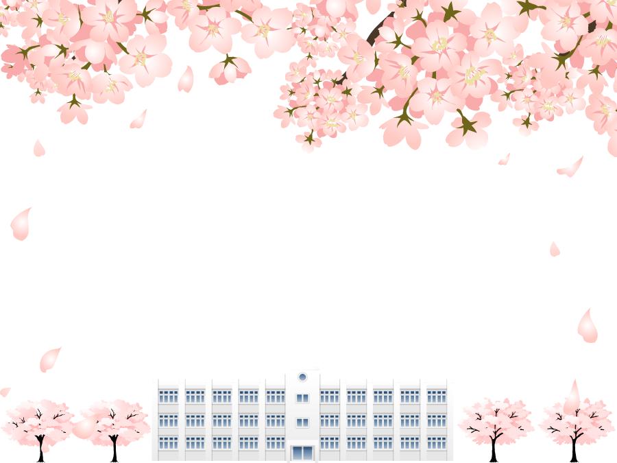 フリーイラスト 桜の花と学校の校舎の飾り枠