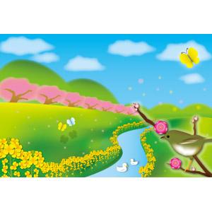 フリーイラスト, ベクター画像, AI, 風景, 花, 菜の花(アブラナ), 桜(サクラ), 梅(ウメ), 河川, 青空, 動物, 鳥類, 鳥(トリ), 鶯(ウグイス), 春, 蝶(チョウ), アヒル