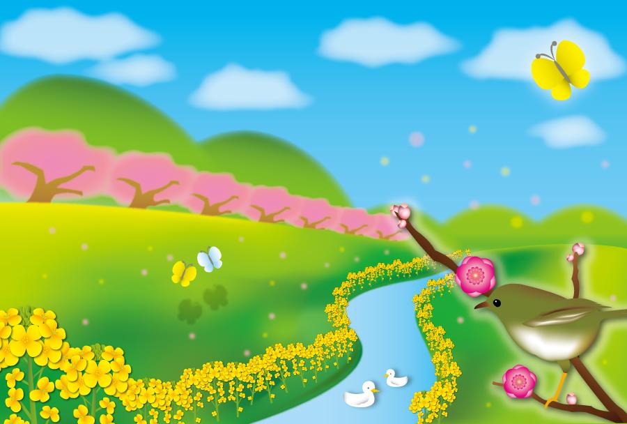 フリーイラスト 梅の枝に止まるウグイスと春の小川の風景