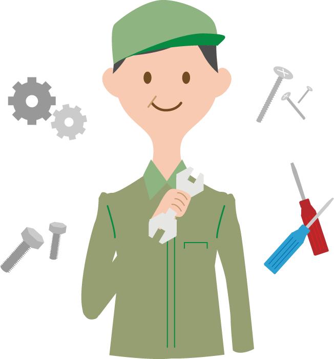 フリーイラスト 整備士と機械関連のセット