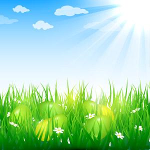 フリーイラスト, ベクター画像, AI, 背景, 卵(タマゴ), 年中行事, 復活祭(イースター), 春, 雑草, 白色の花, 太陽光(日光), 青空