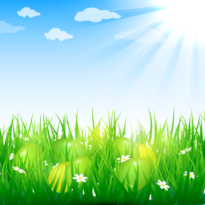 フリーイラスト 太陽の光と草の上の卵のイースター背景