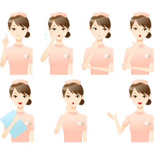 フリーイラスト, ベクター画像, AI, 人物, 女性, 職業, 仕事, 看護師(看護婦), 医療, アドバイス, 説明する, 困る, 頬に手を当てる, 顎に指を当てる, 考える, 悩む, 驚く, 案内する