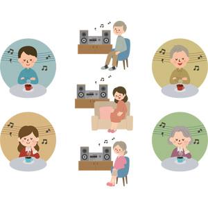 フリーイラスト, ベクター画像, AI, 人物, シニア男性, シニア女性, 男性, 女性, 祖父(おじいさん), 祖母(おばあさん), 老人, 音楽, 音楽鑑賞, 家電機器, オーディオ機器, ステレオ(コンポ), 音符, 妊娠, 妊婦, コーヒー(珈琲)